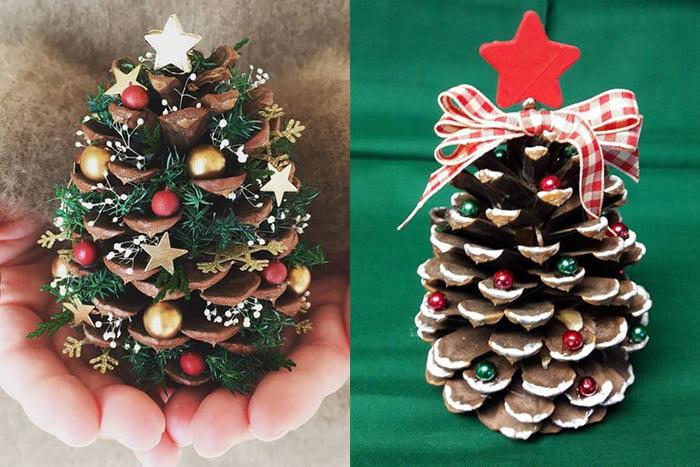Новогодние елочки из шишек и бусин