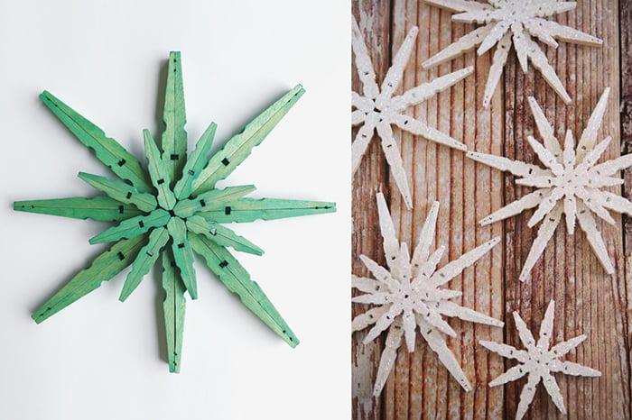 Снежинки из деревянных прищепок