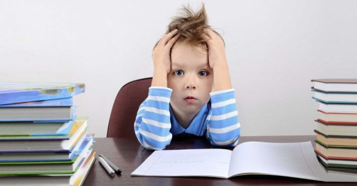 Маленький мальчик не хочет делать уроки