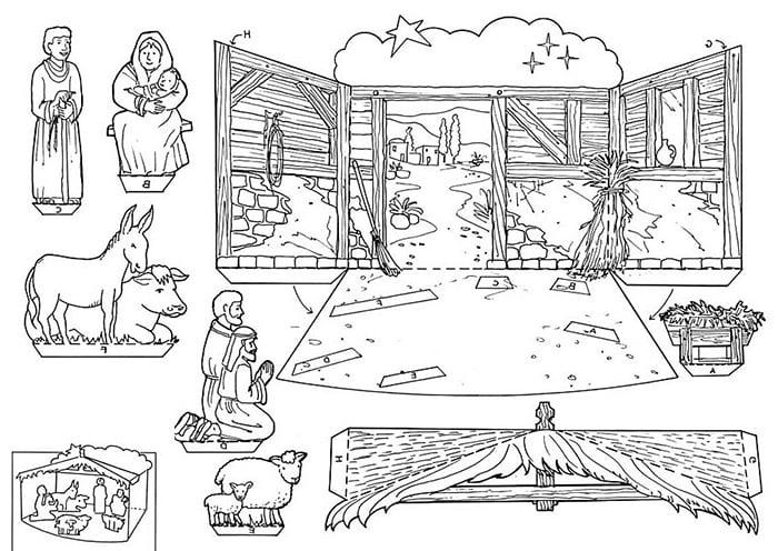 Шаблон для бумажного рождественского вертепа