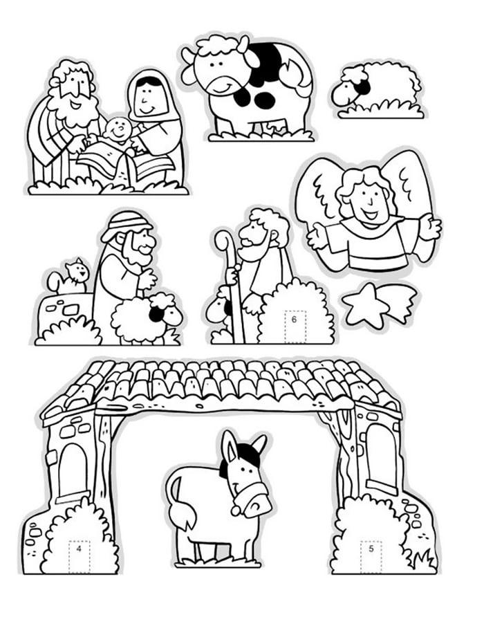 Шаблон с фигурками для рождественского вертепа
