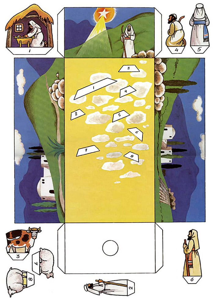 Цветной шаблон для бумажного рождественского вертепа