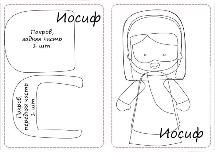 Выкройки для фетровой фигурки Иосифа и схема сборки