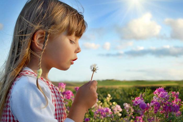 Девочка в цветущем поле