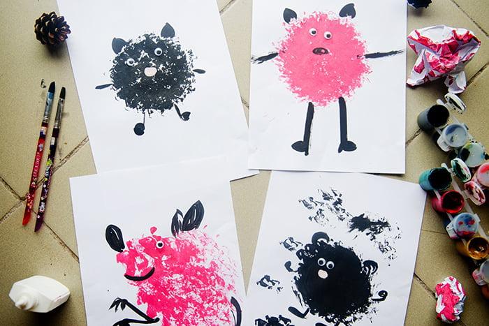 Рисунки, выполненные мятой бумагой