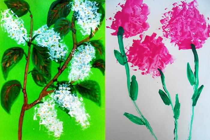 Цветы, нарисованные мятой бумагой