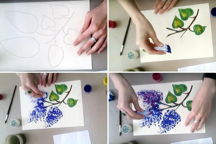 Рисование сирени мятой бумагой