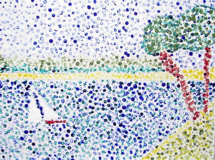 Морской пейзаж, нарисованный ватными палочками