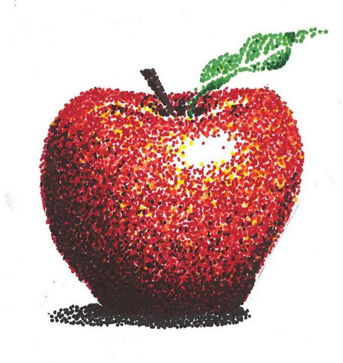 Яблоко в технике пуантилизм