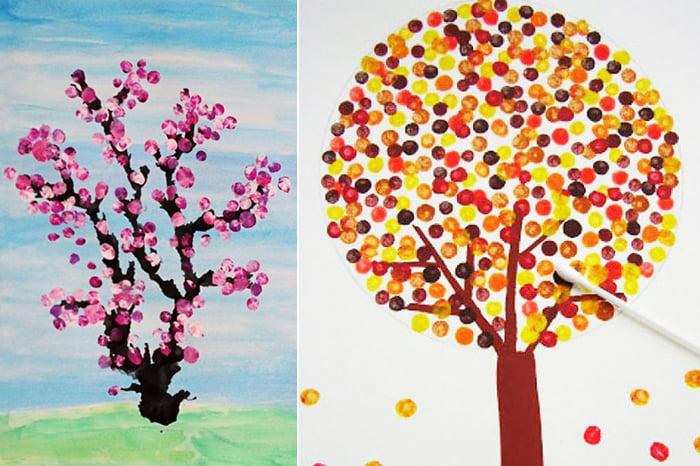 Детские рисунки - деревья в технике паунтилизм
