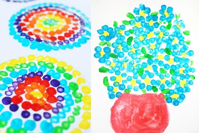Детские рисунки в технике пуантилизм
