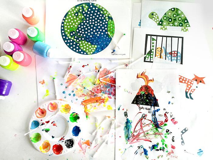Материалы для рисования при помощи ватных палочек