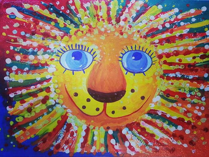 Детский рисунок - портрет льва