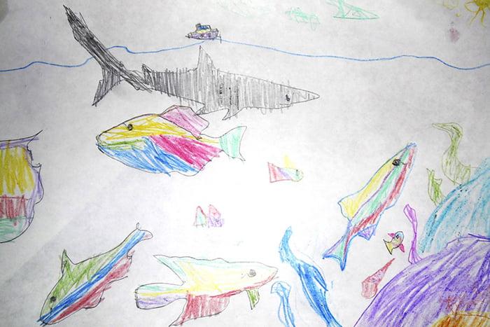 Детский рисунок - морские рыбы