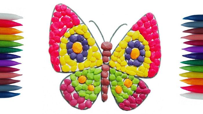 Бабочка из пластилиновых шариков