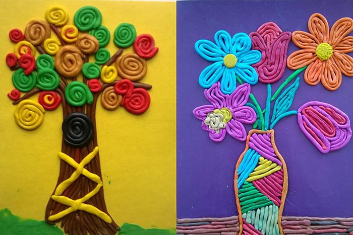 Рисунки из пластилиновых жгутиков