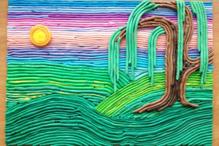 Пейзаж из пластилиновых жгутиков