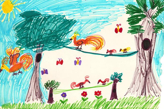 Детский рисунок - птицы и бабочки летом
