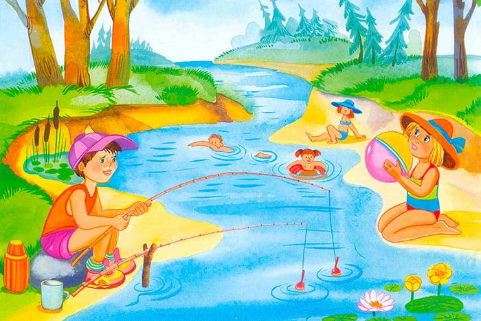 Рисунок - дети летом на речке