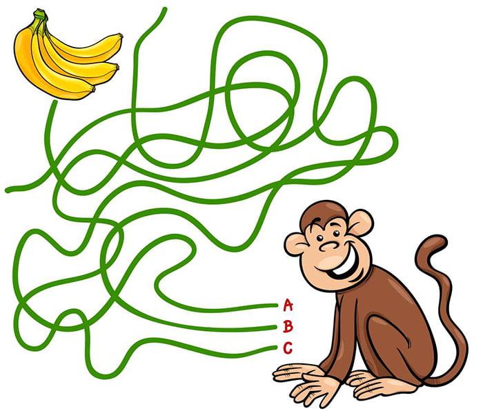 "Упражнение ""Найди тропинку для обезьянки"""