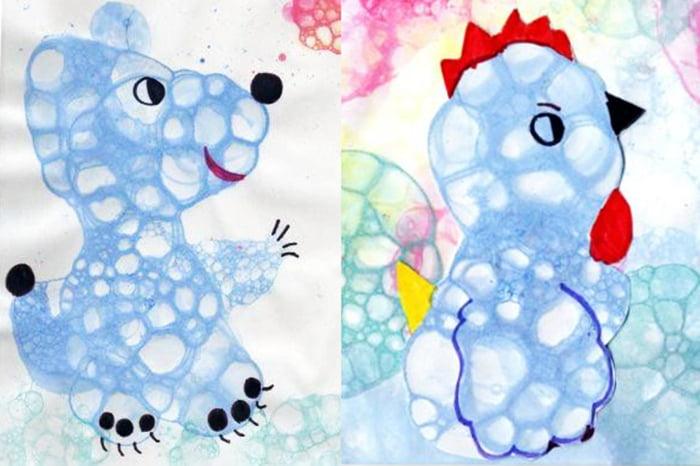 Мишка и птичка, нарисованные мыльными пузырями