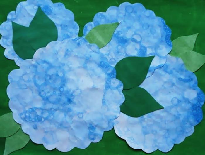 Аппликация из отпечатков мыльных пузырей