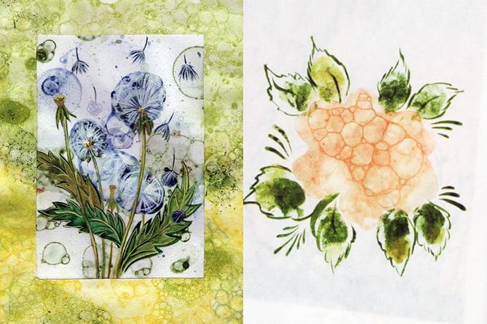 Цветы, нарисованные мыльными пузырями