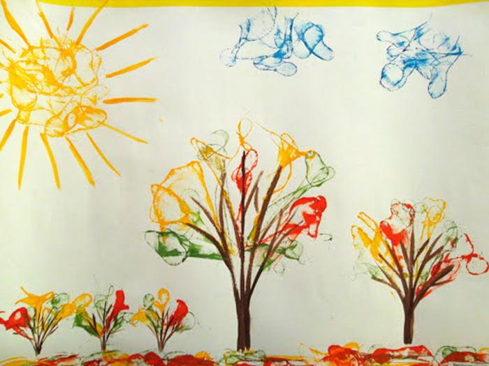Пейзаж, нарисованный нитками и гуашью