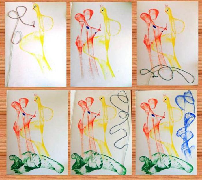 Рисование нитками и красками