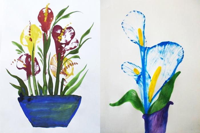Цветы, нарисованные нитками и гуашью