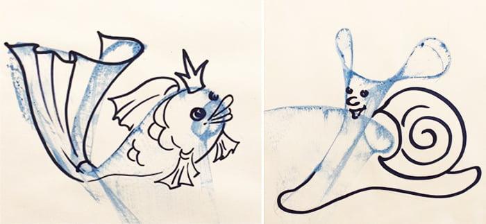 Рыбка и улитка, нарисованные нитками