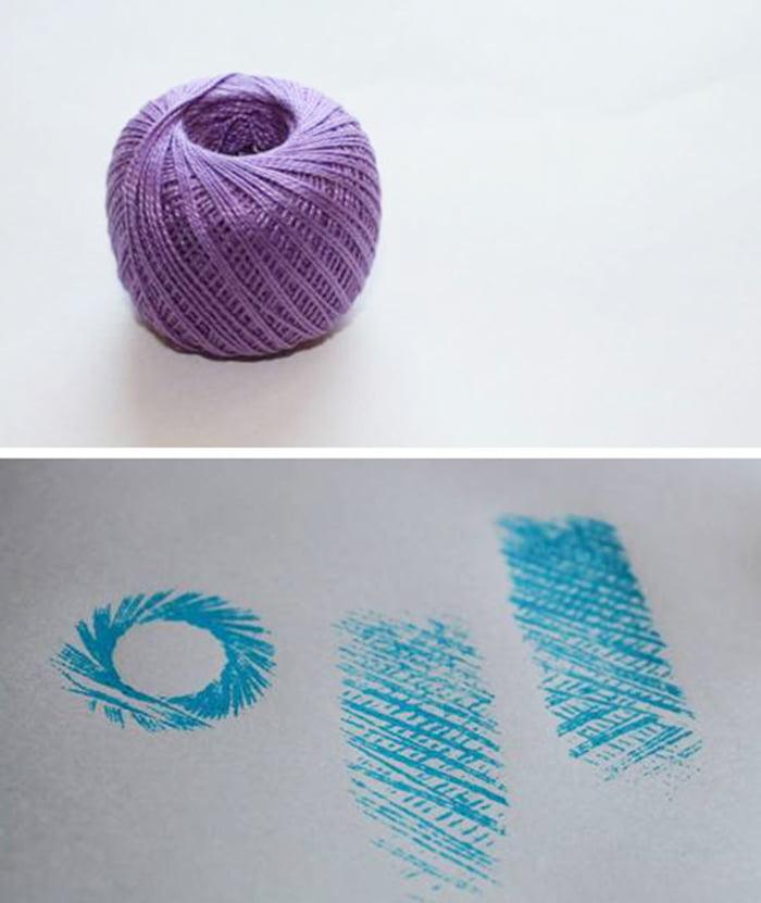 Рисование клубком ниток как штампом