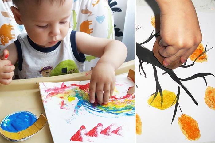 Дети рисуют самодельными штампами