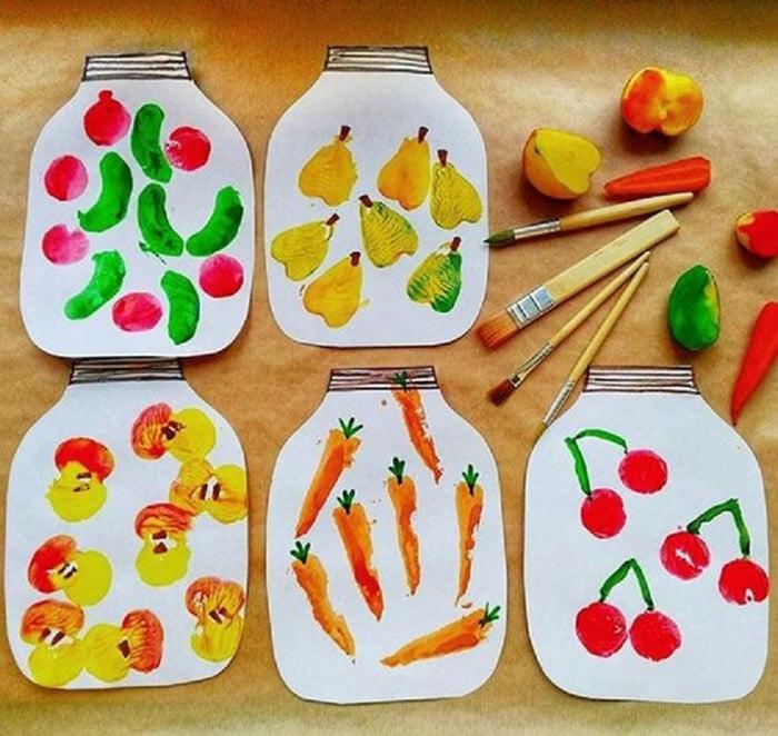 Рисование штампами из овощей