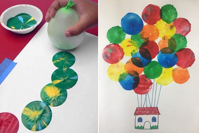 Рисование отпечатками воздушного шарика