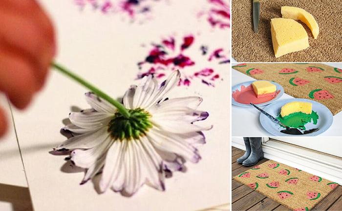 Рисование штампами и отпечатками цветка