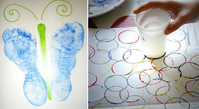 Рисование отпечатками ног и пластикового стаканчика
