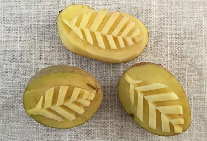 Штампы-листики из картошки