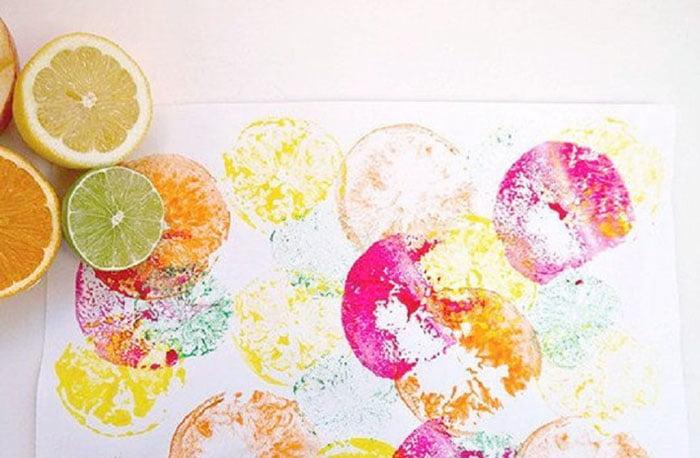 Рисование штампами из цитрусовых