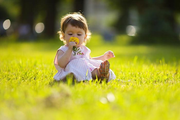 Маленькая девочка на газоне нюхает цветок