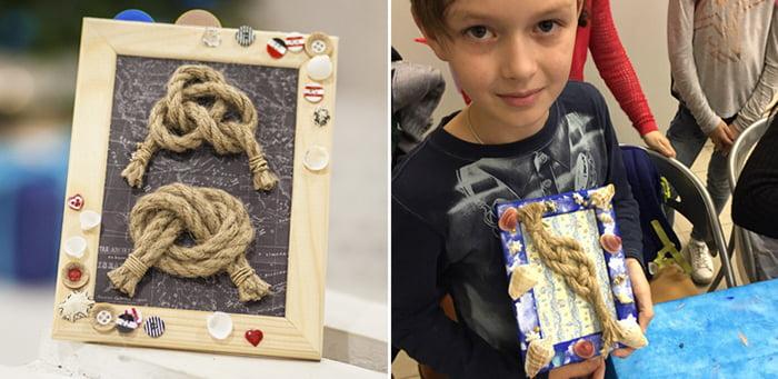 Ребенок вяжет морские узлы