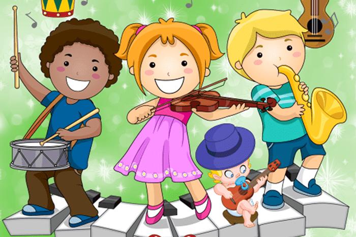 Рисунок - дети играют на музыкальных инструментах