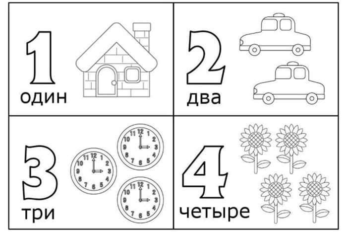 Раскраска с цифрами 1, 2, 3, 4