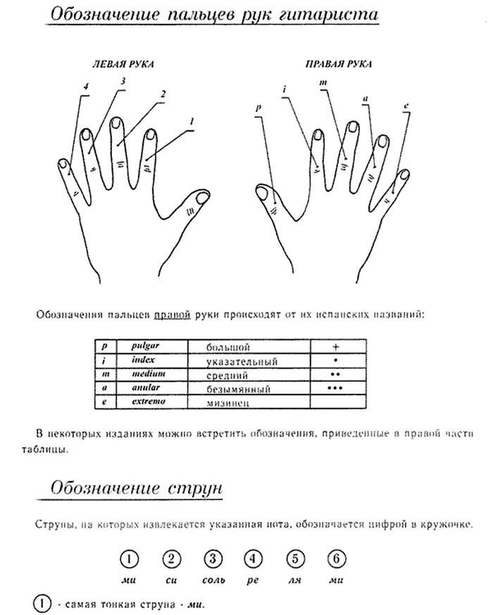 Обозначение пальцев рук гитариста
