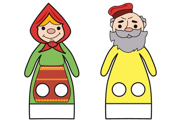 """Шаблоны для пальчиковых игр - Бабка и Дедка из сказки """"Репка"""""""