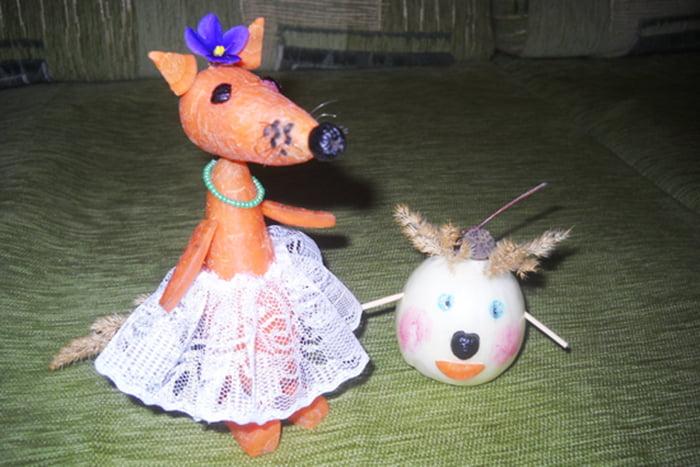 Лиса из моркови и колобок из лука
