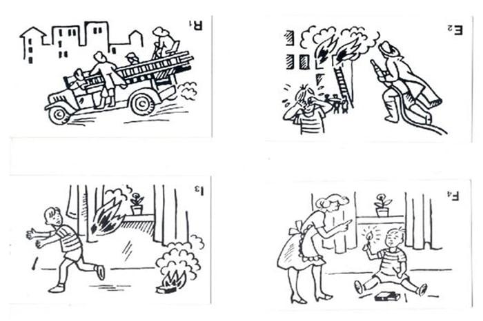 Последовательные картинки в неправильном порядке - тест для дошкольников