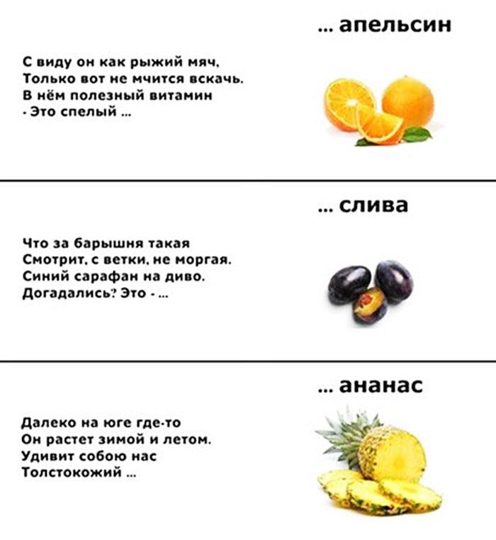 Загадки про апельсин, сливу и ананас