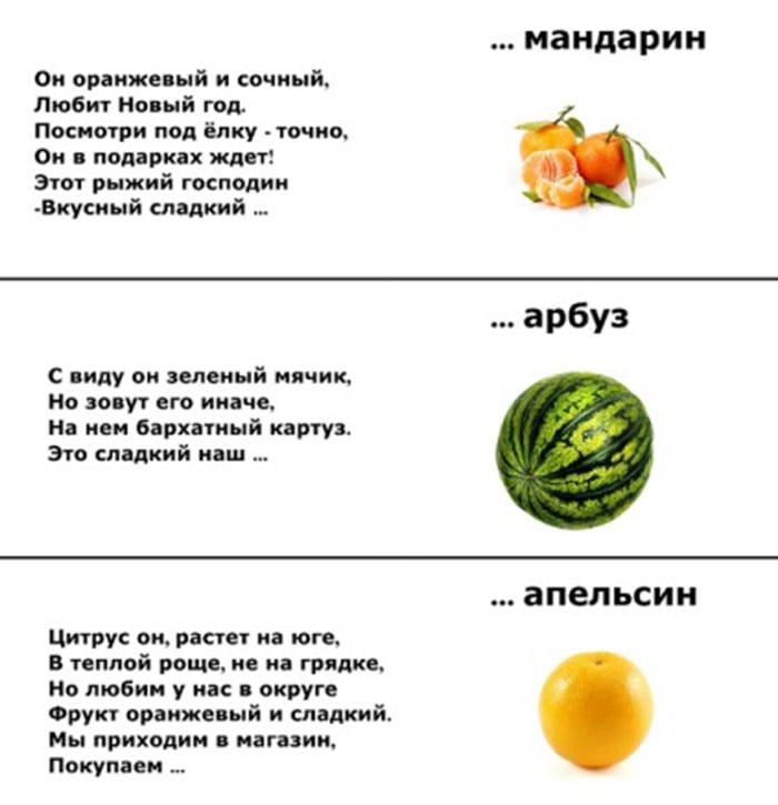 Загадки про мандарин, арбуз, апельсин