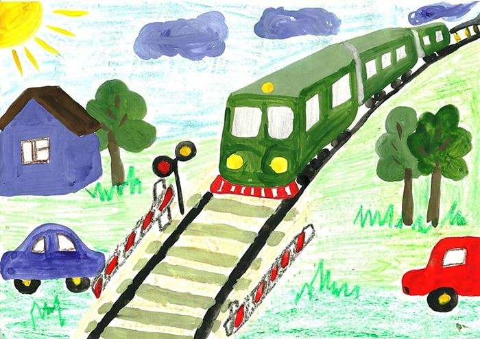 Детский рисунок на тему безопасности на железной дороге